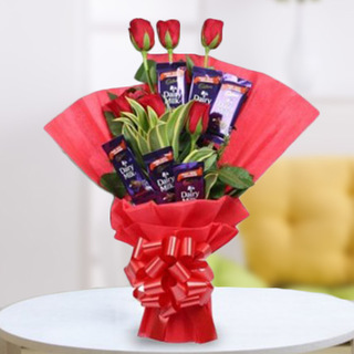 Valentine Roses and Chocolate Bouquet