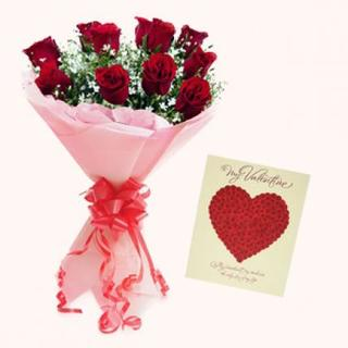 Valentine Card & Red Roses