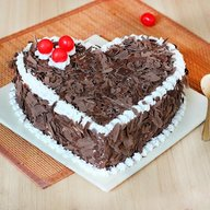 Delicious Heart Shape Blackforest Cake