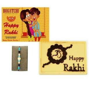 Happy Rakhi White Chocolate with Blue Rakhi