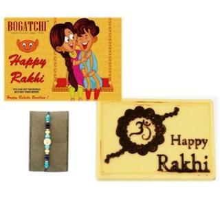 Happy Rakhi White Chocolate with Blue Rakhi