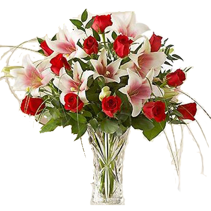 Valentine Red Roses & White Lilies in Vase
