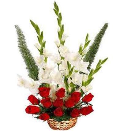 Red Roses & White Glads Basket