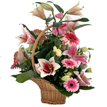 Pink Lily & Gerbera in a Basket