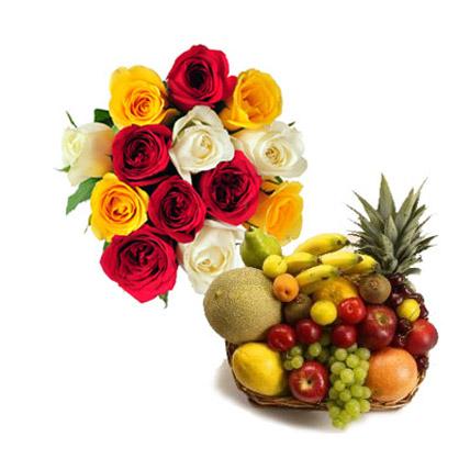 Fresh Fruit Basket With Flowers