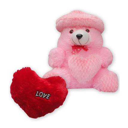 Heart Cushion With Teddy