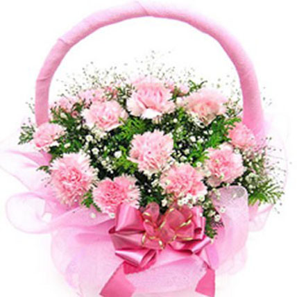 Pink Carnation Basket