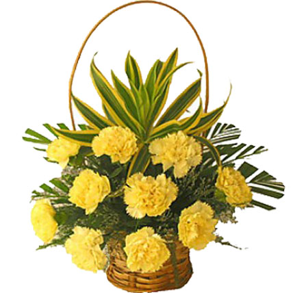 Valentine Yellow Carnation Basket