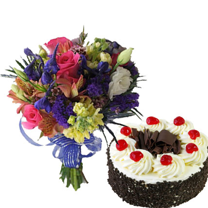 Mixed Flowers with Cake