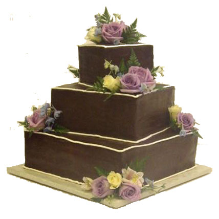 3 Tier Square Chocolate Cake