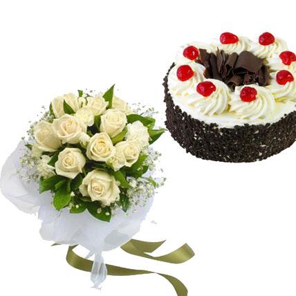 Black Forest Cake & White Roses