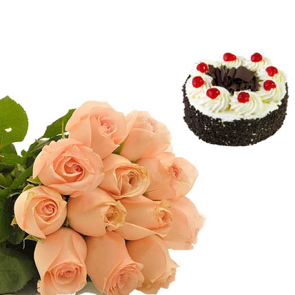 Black Forest Cake & Peach Roses