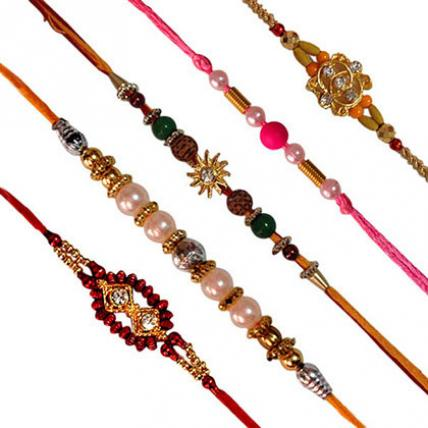 Set of 5 Rakhis-Mixed