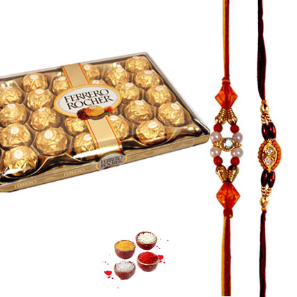Ferrero Rocher with 2 Rakhi of choice