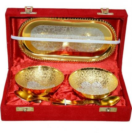 2 Pcs bowl Set-Silver/Gold