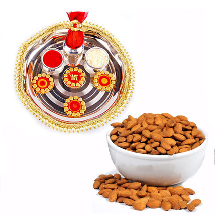 Diwali Pooja Thali With Almonds