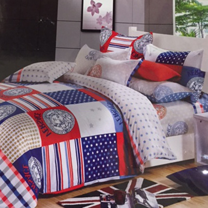 Printed Red/White/Blue Bedsheet Set