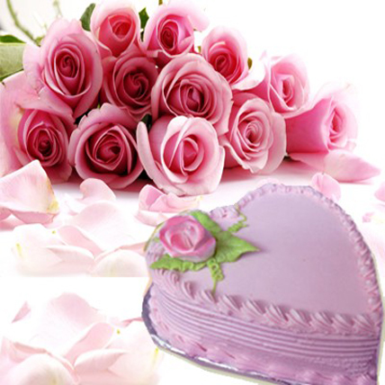 Valentine Roses with Heart Shape Cake