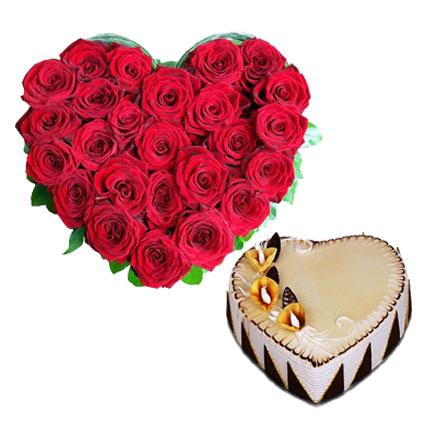 Valentine Heart Cake & Heart Flowers