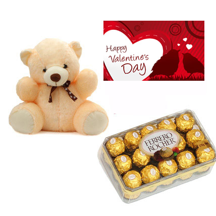 Valentine Teddy, Chocolates  & Card