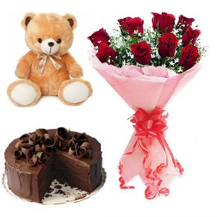 Valentine Cake,Teddy, Red Roses