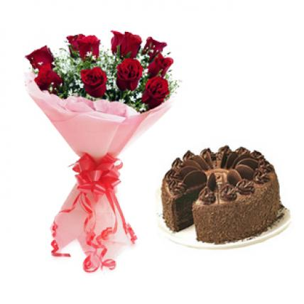Red Roses & Chocolate Truffle Cake