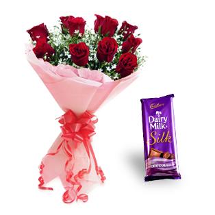 Roses with Cadbury Dairy Milk Silk