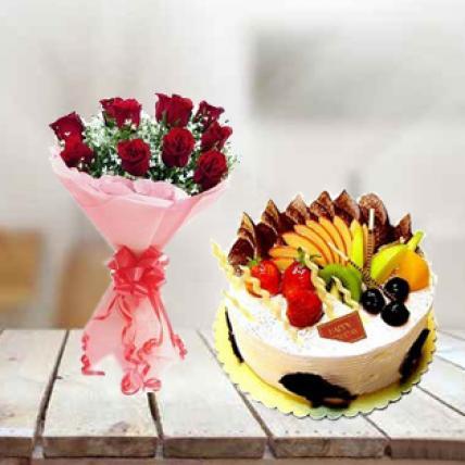 Fresh fruit Cake & Roses