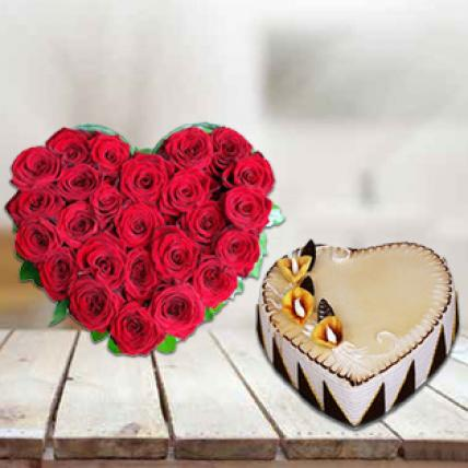 Heart Shape Cake & Flowers
