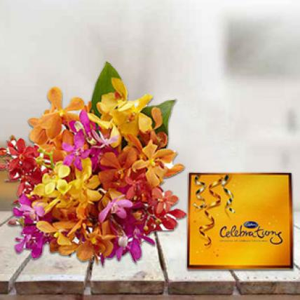 Mixed Orchids with Cadbury's Celebrations Chocolate