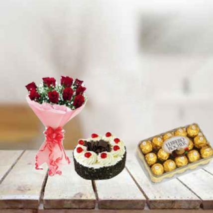 Valentine Red Roses, Cake and Ferrero Rocher