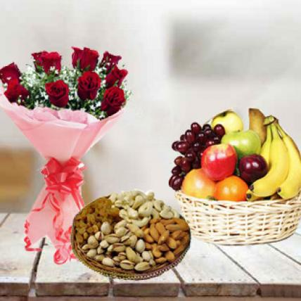 Roses, Fresh Fruits & Dry Fruits