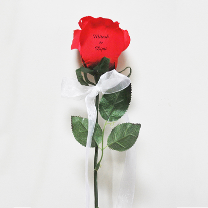 Single Red Flower with Text