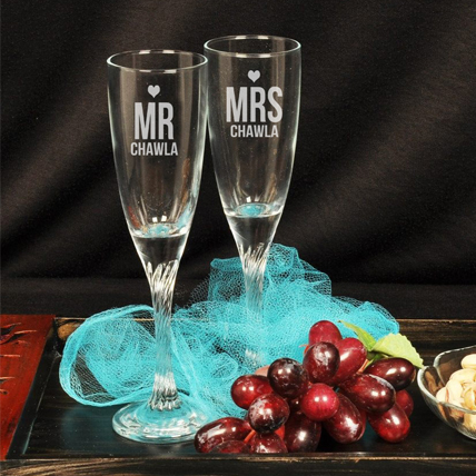 Personalised Mrs and Mr Champagne Glasses