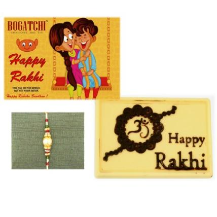 Happy Rakhi White Chocolate with Pearl Rakhi