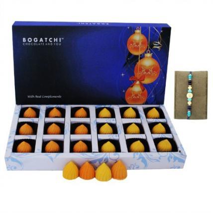 Fruit Modak Chocolate Box with Blue Stone Rakhi