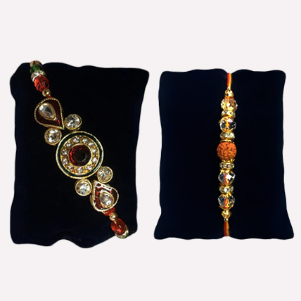 Set of 2 Rakhis - Mix Stone