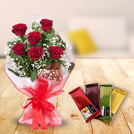Red Roses with Cadbury Temptation