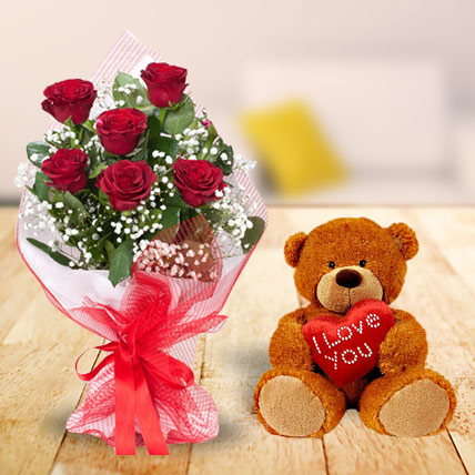 Valentine Roses and Teddy Combo