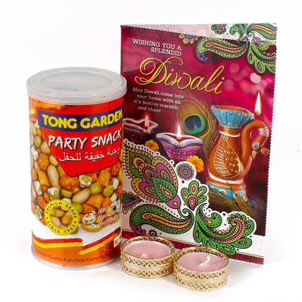 Diwali Party Snack with Greeting Card and Diya Set