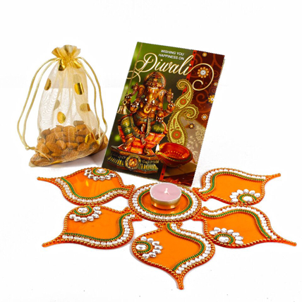 Almonds with  Rangoli and Greeting Cardfdiwali