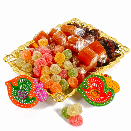 Mix Colorful Candy Tray with Diyas