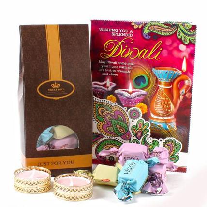 Delicious Chocolate with Diwali Card and Designer Diya