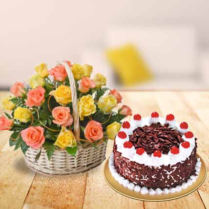 Mixed Roses Basket with Cake