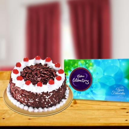 Valentine Combo Blackforest Cake & Cadbury Celebrations