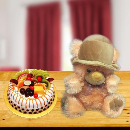 Yummy Cake and Adorable Teddy Combo