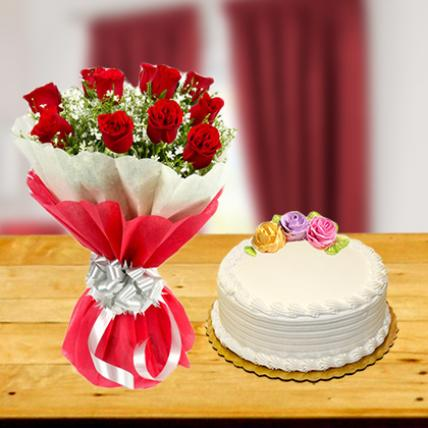 Exclusive Red Roses and Cake Combo