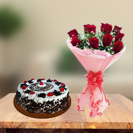 Black Forest Gateau Cake & Red Roses