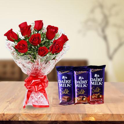 Valentine Roses and Dairy Milk Silk