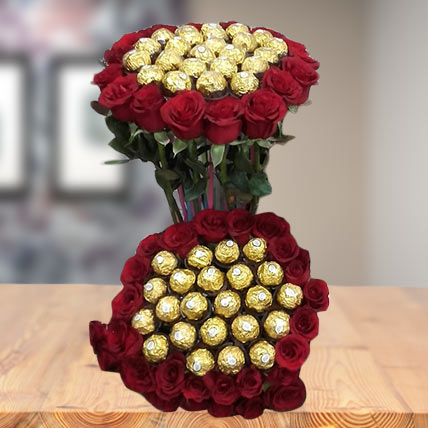 Valentine Roses and Rocher Bouquet